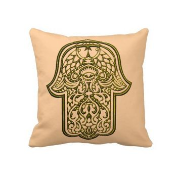 Henna Hand of Hamsa (Golden) Pillow from Zazzle.com