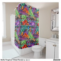BoHo Tropical Tribal Florals Shower Curtain