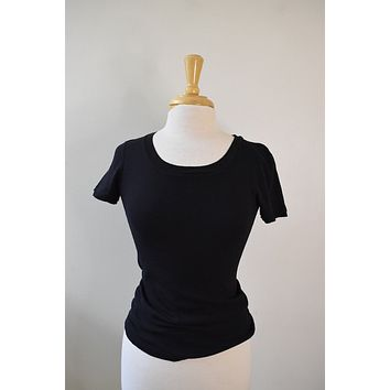 Three Dot Black Baby Cap Sleeve Tee