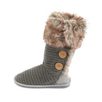 FUR-LINED BUTTONED SWEATER BOOT
