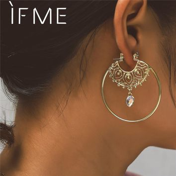 IF ME Vintage Trendy Gold Color Hoop Earrings For Women Bohemian Crystal Statement Geometry Round Creole Earring Pierce Jewelry