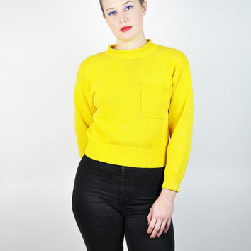 SALE 90s Yellow Sweater, Knit Sweater, Liz Claiborne Sweater, (Size Small)