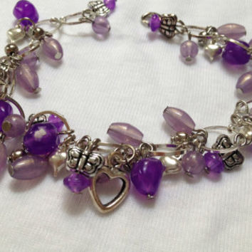 Butterfly Bracelet with charms and purple beads