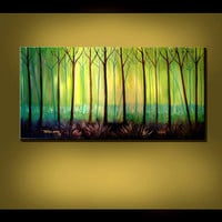 ORIGINAL ABSTRACT Painting Green Tree Large by americanartsgallery