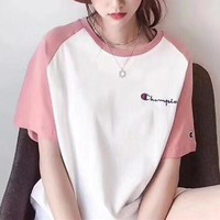 """Champion"" Women Sweet Casual Embroidery Letter Multicolor Short Sleeve T-shirt Top Tee"