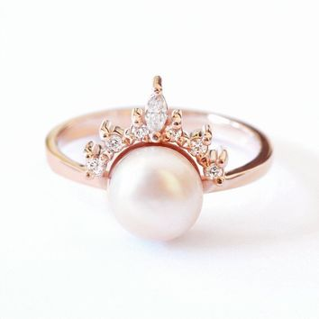 Pearl & Diamonds Engagement Ring, 0.15 ctw Diamonds, Romi Unique Ring with 8mm Pink Freshwater Pearl, Fantasy Diamonds Unique Ring 14K Gold