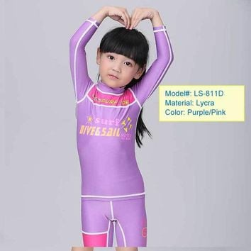 Premium  Lycra Dive Skin Swimwear Youth Boys Girls Children Rash Guard Snorkling Swim Two pieces Design Kids Swimming