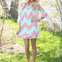 Brush it off Chevron Dress