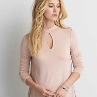 AEO Soft & Sexy Mock Neck T-Shirt , Light Pink