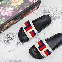 Gucci Satin Slide With Sylvie Bow
