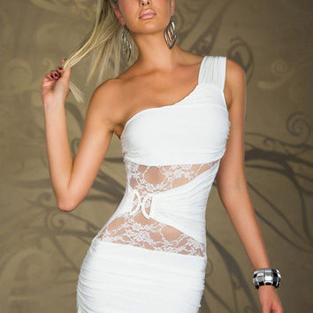 Half Shoulder with Cut-Out Floral Lace Ruched Bodycon Mini Dress