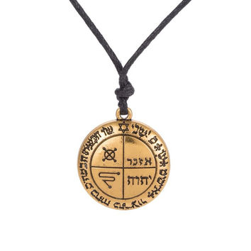 The Third Pentacle of Jupiter Seal of Solomon King Wicca Amulet Message Letter Pendant Mens Necklace Chain Rope
