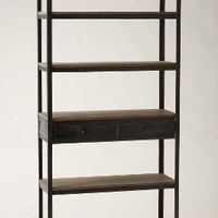 Decker Five-Shelf Bookshelf by Anthropologie in Grey Size: One Size Furniture