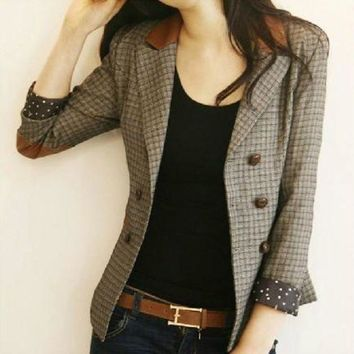 DCCKFV3 Korean Vintage Fashion Spring and Autumn Female Blazers Plaid Double Breasted Slim Suits Jackets Long Sleeve Woman Blazers Coats