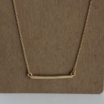 Gold Skinny Bar Pendant Necklace