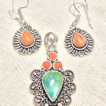 Turquoise and orange turquoise silver pendant or earrings