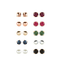 10 X Multi Mini Stud Earrings Set | Multi | Accessorize