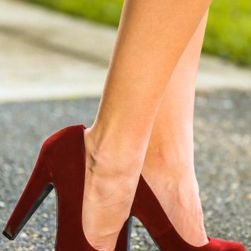 Strike A Pose Heels-Burgundy
