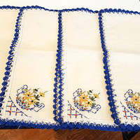 4 Vintage Napkins Embroidered Country Cottage Chic Blue Yellow
