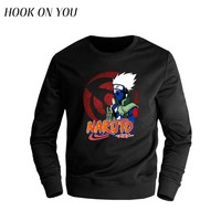 2017 New Fashion Japanese Anime Naruto Men O-Neck Hoodies Hatake Kakashi Printed Sweatshirt Trend Clothes Cool Funny Casual Tops