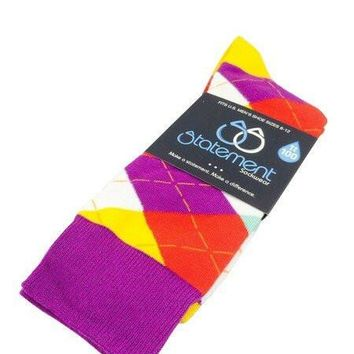 Purple, Red, Yellow Argyle Men's Dress Socks (SKU:22881)