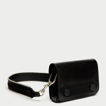 LEATHER CROSS BODY BAG WITH FLAP DETAIL DETAILS