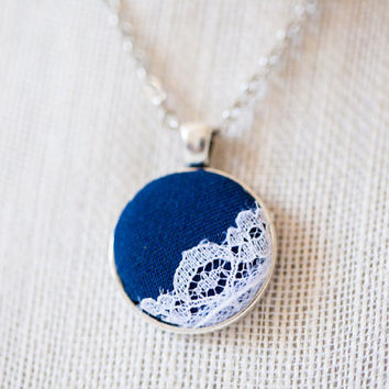 Dark Navy blue pendant necklace silver circle 24 inch chain white lace vintage romantic Bridesmaid fabric gift for her bridal womans women