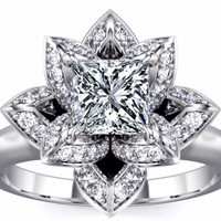Engagement Ring - Lotus Princess Diamond Engagement Ring in 14K White Gold - ES1006WG