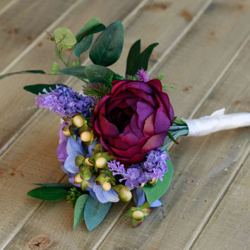Dark Plum Rose and Lavender Silk Bridesmaid Bouquet