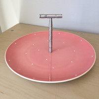 Royal Winton Grimwades Vintage Serving Tray, White Polka Dot, Pink Dessert Plate with Metal Handle, English Pottery Dish