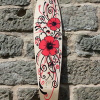 "SP8BOARDS ""Missy"" - longboard deck with a hibiscus design, rear kicktail and a full length concave, ideal for cruising and long mellow runs"