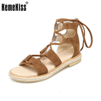 KemeKiss Size 30-43 Lady Flats Sandals Women Cross Strap Summer Sandals Hallow Flat Sandal Beach Vacation Leisure Footwear