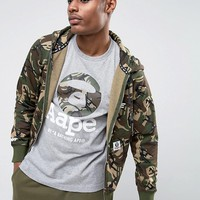 AAPE By A Bathing Ape Zip Through Hoodie With Badge Print in Camo at asos.com