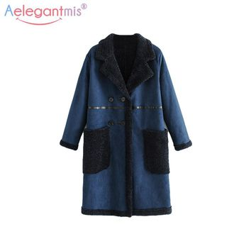 Aelegantmis Autumn Winter Women Navy Blue Suede Fabric Thick Warm Coat Ladies Fashion Reversible Long Outwear Overcoat Wool Coat