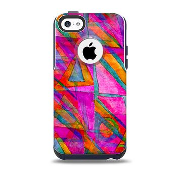 The Grunge Abstract Pink Painted Shapes Skin for the iPhone 5c OtterBox Commuter Case