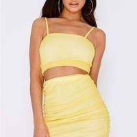 SARAH ASHCROFT YELLOW RUCHED MESH MINI SKIRT