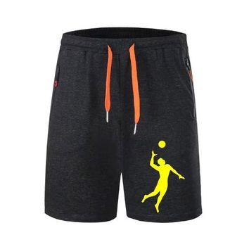 Volleyball Men Shorts Gym Athletic Workout Sport Exercise Fitness Sweat Shorts