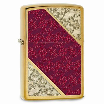 Zippo Brushed Brass Red Diagonal Lighter