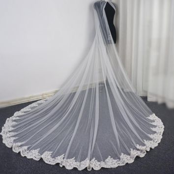 Lace Bridal Cape Cloak Wedding Shawl with Crystal Beaded Lace