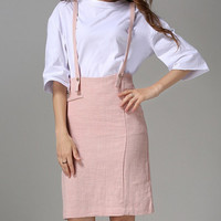 High-Waisted Suspender Designed Midi Skirt