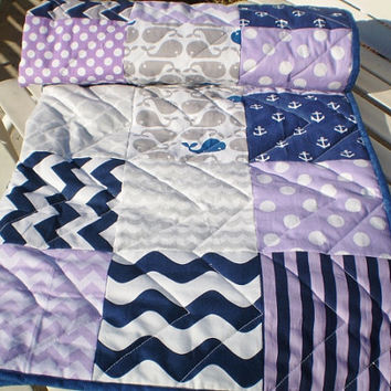 Baby Quilt Toddler,Nautical Baby quilt,baby boy or girl bedding,Patchwork Crib quilt,navy,grey,purple,whales,anchors,chevron,modern,toddler