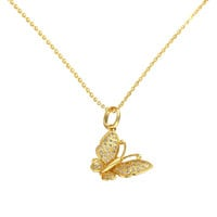 Gold Plated Petite Butterfly Necklace