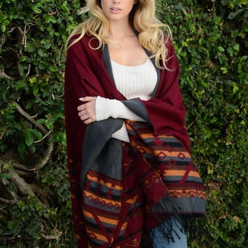 Reversible Burgundy and Gray Tribal Tassel Poncho