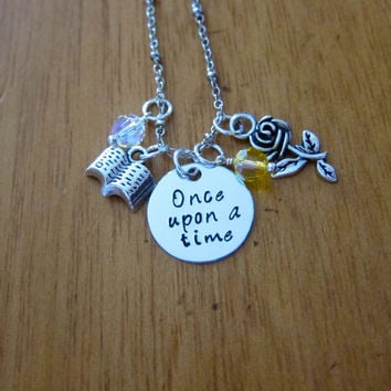 "Disney Inspired Princess Belle Necklace. ""Once Upon A Time"". Beauty and the Beast. Silver colored, Swarovski crystals. FREE shipping."