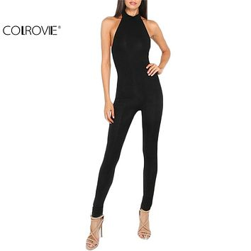 COLROVIE Women Plain Black jumpsuit Slim Backless Sexy Ladies Summer Sleeveless Round Neck Bodycon Sheath Jumpsuit
