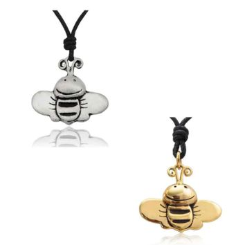 Happy Bee Handmade Brass Necklace Pendant Jewelry