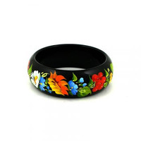Wooden bangles, painted by hand. Gift for her.