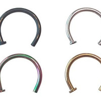 Cocorina 4 pack - 18 Gauge Nose Ring Hoops 8mm 5/16 in Black, Gold, Silver & Rainbow