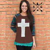 Crochet Cross On Brown With Navajo Sleeves -CLOSEOUT