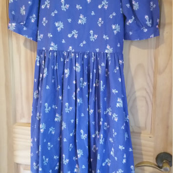 Vintage Laura Ashley Romantic 80s Floral Print Made in Great Britain Dress Size US 8 UK10 EU 36